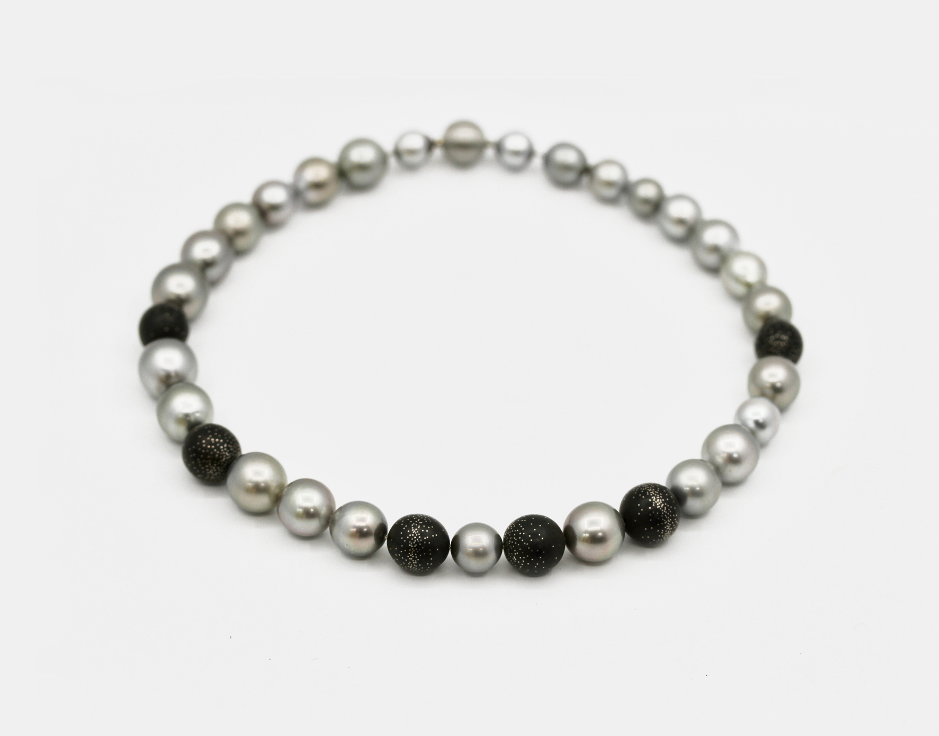 Black Pearl and Milky Way Bead Necklace