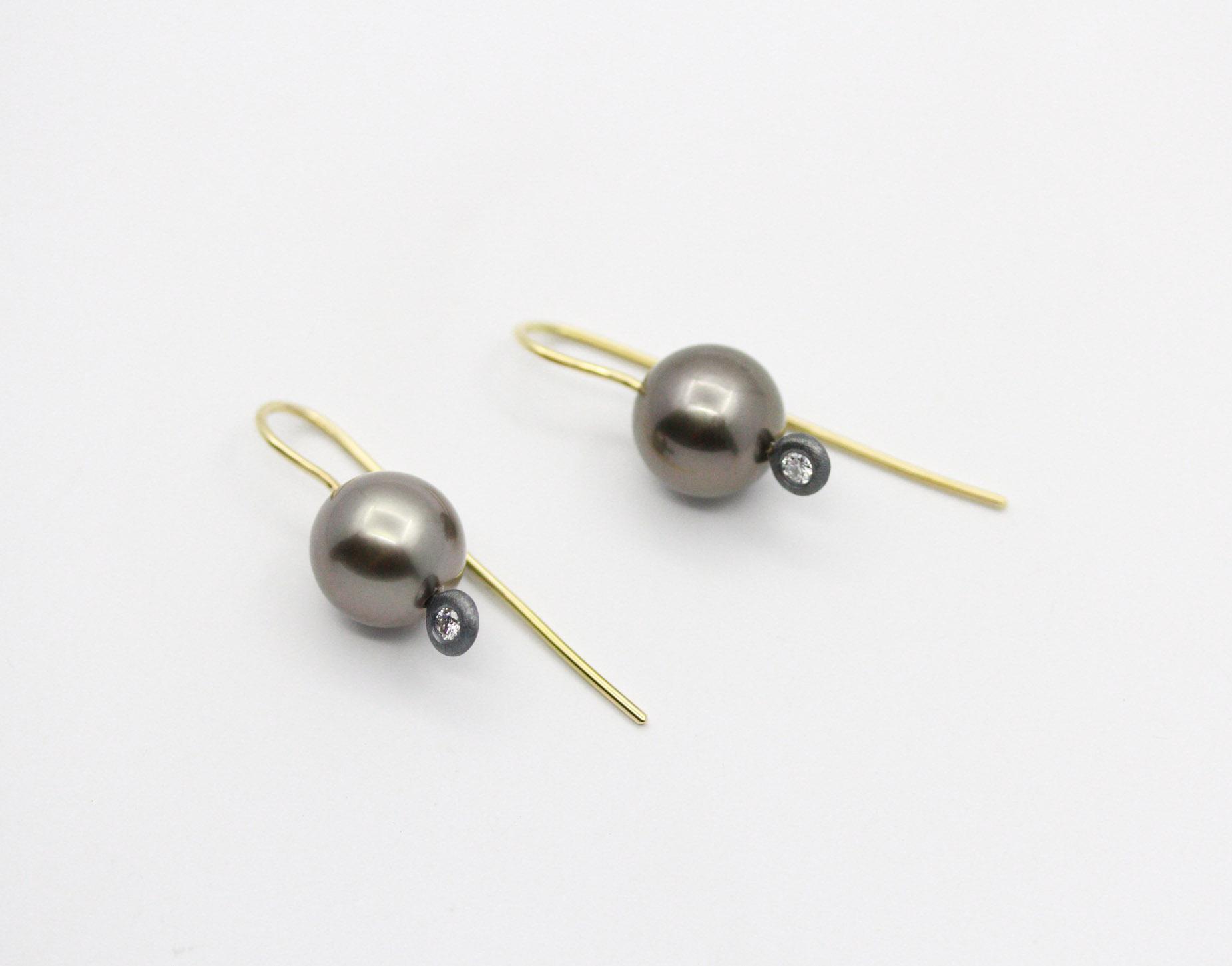 South Sea Black Pearl and Diamond Earrings